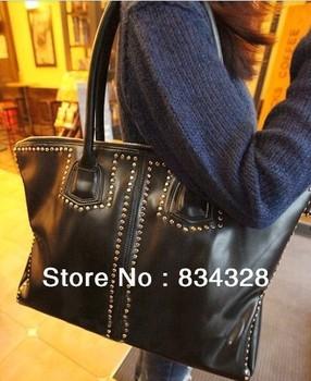 2013 fashion rivet bag black big bags vintage women's handbag large leather bags louis handbag michael handbags