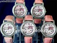 Free shipping 5pcs New Pink Hello kitty fashion Lovely watch Wrist Watch , K7-PK