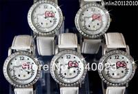 Free shipping 5pcs New White Hello kitty fashion Lovely watch Wrist Watch , K7-WT