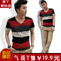 2013 spring short-sleeve T-shirt slim V collar male short-sleeve t-shirt basic short-sleeve shirt male clothes