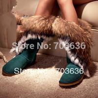 Free Shopping New 2014 Women's Big Size High-leg Fur Tassel Boots Round Toe Flat Heel Shoes Autumn Winter Snow  Boots