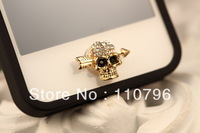 Free shipping 10pcs/lot New Skull stone mandrel Phone keypad decoration Jewelry Accessories for Iphone4/4s/5 phone deco