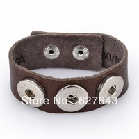 NFB002(Min.Order $15) High Quality 2013 Jewelry Noosa Style DIY Bracelets for Men & Women Genuine Leather Bracelet Brown Color
