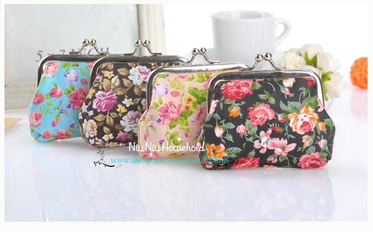 Free shipping fashion cute lady's coin purse women wallet girls' handbag flower pattern 4 colors cotton(China (Mainland))