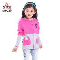 Children's clothing female child 2013 spring and autumn kitten cartoon child hooded cardigan