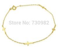pure 14k yellow glod women bracelet  cross chain  fashion jewelry bracelet  europen style  gift  free shipping