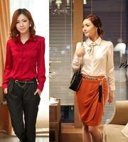 Ladies Korea Elegant Business Wear Satin Silk Blouses Ruffle Tie Career Work Shirts