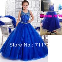 High Quality Elegant Halter V-Neck Beaded Bodice Girl Ball Gown A-Line Floor-Length Royal Blue Satin Tulle Flower Girl Dresses