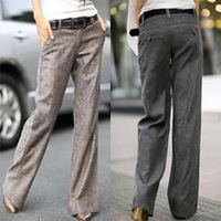 Free Shipping  New 2013 Women Linen long trousers ,loose Wide leg leisure Straight pants S M L XL XXL
