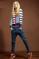 Han edition foreign trade navy wind of new fund of 2013 early autumn long sleeve stripe knit cardigan coat dress