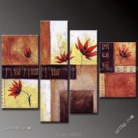 Oil Painting Hand Painted Maple Dance Irregular Decorative Modern Room Wall Art Abstract 4 Pcs Set Wall Art Spell Flower