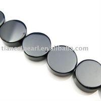 12mm Black Onyx - Nature Stone- Coin Shape Semi-Precious Stone stone Strand 16''L=38cm/strand