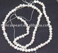 3x4mm White Freshwater Cultured Pearl Flat Beads Semi-Precious stone Strand 16''L=38cm/strand