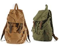 Men's Vintage Canvas Leather Hiking Travel Military Backpack Messenger Tote Bag