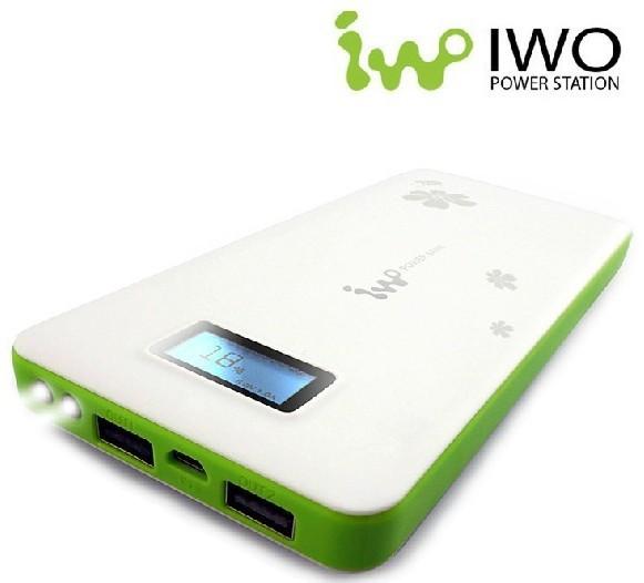 Free shipping IWO newest 13200mAh 2USB portable battery universal ,cute design LED screen power bank(China (Mainland))
