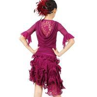 New arrival Latin dance skirt female child lace ballroom dance set for kids girl fy055 black pink purple blue