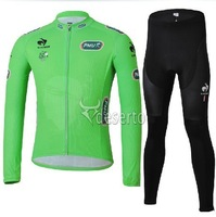 201 3green for  winter Warm Fleece Thermal sportswear bike colthing long sleeve cycling bike bicycle cycling jersey +pants