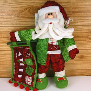 Free shipping hot sell 2014 Christmas ornament green clothes santa claus christmas indoor decoration SHB145