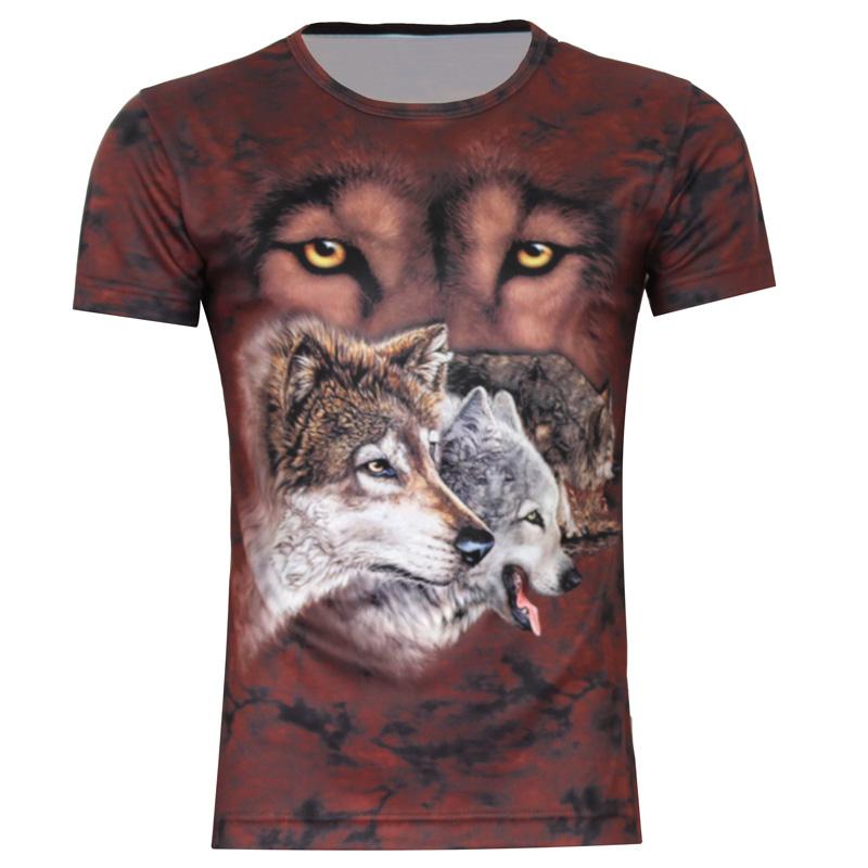 Free shipping!2014 new fashion Korean men's clothing Wolf 3d avatar original prints animal big yards short sleeve t-shirt Slim(China (Mainland))