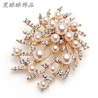 Brooch rhinestone pin corsage pins brooch crystal pearl brooch female