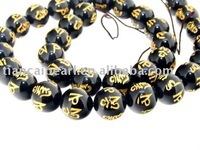 Black Agate Carved Word Happiness Beads Gemstsone Loose Nature Semi-Precious stone Strand 16''L=38cm/strand