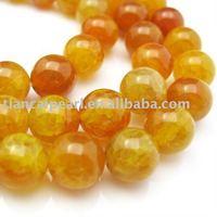 10mm Golden Color Agate -Dragon veil, Round Shape Semi-Precious Stone stone Strand 16''L=38cm/strand