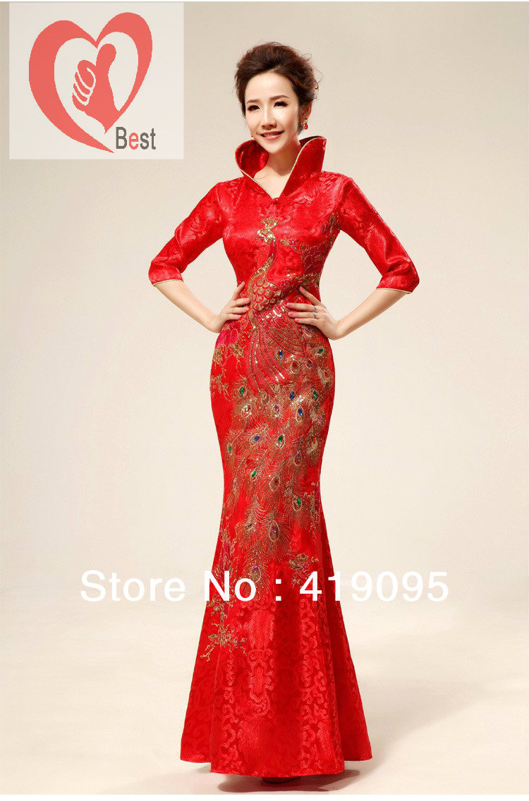 clothing cheongsam, Chinese knot red dress, women's wedding dress ...