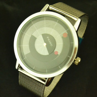 Free shipping , Neutral Fashion Quartz Watch Rotational Indicator Dial Design  Wrist Watches  Stainless Steel Band Clock