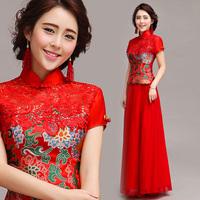 The bride red bridal evening dress wedding chinese style cheongsam evening dress short-sleeve bridal wear long design 128