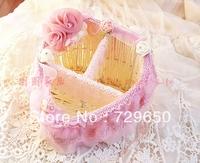 Remote control basket/storage baskets/debris basket pink roses remote basket wind diamond heart