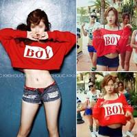 New Arrival autumn women's fashion cute sexy red zipper batwing sleeve BOY letter print sweatshirt short design crop top hoodies