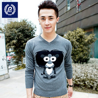 Pbz sweater Men casual pullover sweater color block decoration V-neck 232 cartoon sweater