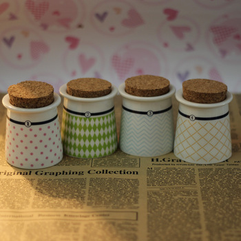 Free Shipping Zakka hat storage bottle seasoning bottle cork bottle ceramic tea caddy hot-selling 4