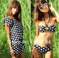 Wholesale Three-Piece black dot Bikini Set fassion women's swimsuit bubble hot spring bathing suit Bikini set