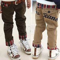 2013 autumn roll up hem plaid boys clothing baby child casual pants long trousers kz-2138