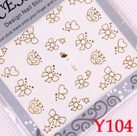 Fashion popular nail art gold watermark stickers metal diy finger applique 03