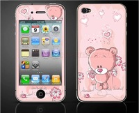 Free Shipping Cute Bear Color Screen Protector Full Body Sticker for iphone4/4s Mobile protective film