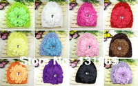 wholesale 12 sets  Newborn Baby Girl Infant Soft Waffle Stretch Crochet Hat Cap Beanie+Peony Flowers Hair bow Clips Accessories