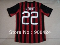 Free shipping!13/14 thail quality #22 KAKA AC MILAN home soccer jersey strip football jersey  sport shirt  free name and number