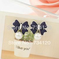 EX136 2014 new Fashion vintage simple cheap full rhinestone sweet bowknot pearl stud earrings for women Blue Black Free shipping