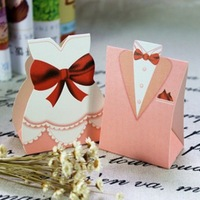 Free shipping 250pcs/lot Bride and Groom European dress, Pink dress cardboard box, Christmas box TH-01 (Pink)