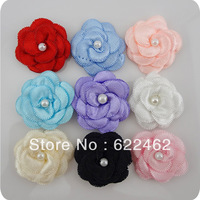 100 pcs Satin ribbon bows flower with pearl wedding DIY appliques Upick A006
