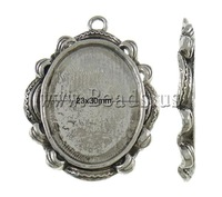 Free shipping!!!Zinc Alloy Pendant Setting,new 2013, Flat Oval, antique silver color plated, nickel, lead & cadmium free