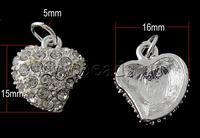 Free shipping!!!Rhinestone Brass Pendants,Korean, Tiekuang, Heart, platinum color plated, with rhinestone, nickel
