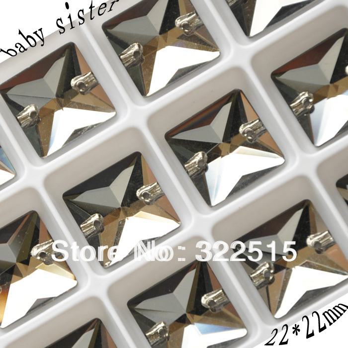 Free shipping(24ps/lot)Black Diamond color,22*22mm, Flatback, silver base, crystal material square sew on Rhinestone(China (Mainland))