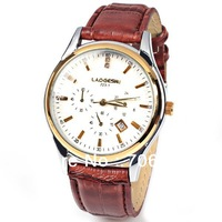 New Arrival! LaoGeShi(223-1) Unisex Watch 2 Diamond Squares and Trapezoids Hour Marks Round Dial Leather Watch Band (Brown)