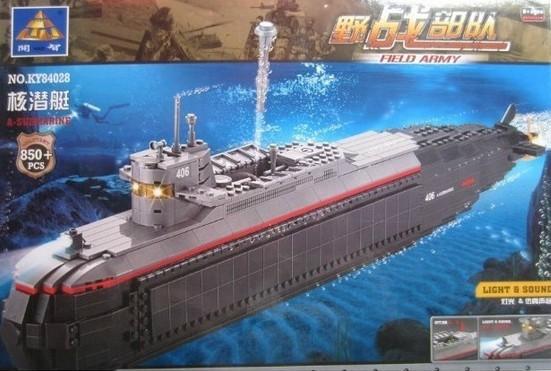 Kazi 84028 Educational DIY Nuclear Submarine Ship 850PCS Assembles Particles Building Block Bricks Gift toy Without Original Box(China (Mainland))