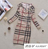 [RV Closet] 2014 spring Womens autumn brand designer dress plaid casual dresses elegant slim basic bodycon dress plus size L-4XL