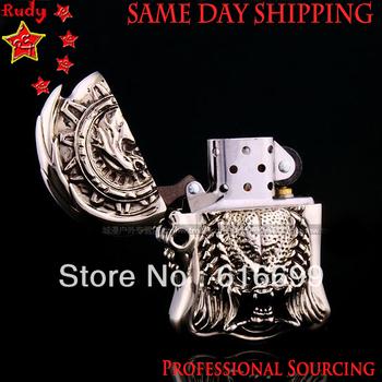 DHLThe Predator Lighter: Top Hand Engraving, Tibetan Silver made, Same Day Shipping