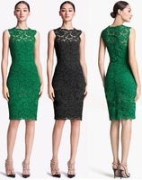 wholesale2013 green color Sleeveless knee-length hollow out elegant summer new fashion women's casual lace dress few pcs DHLfree